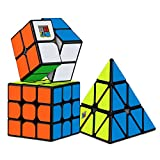 #9: Dreampark Speed Cube Bundle [3 Pack] 2x2x2 3x3x3 Pyramid Sticker Magic Cube Set Puzzle Cube Toys for Kids and Adults