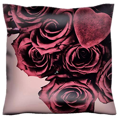 Top Bouquet Pillow (MSD Handmade 32X32 Throw Pillow case Polyester Pillowcase Decorative Pillow Covers Sofa Bed Couch A Bouquet of Roses with a Velvet Heart on top Presented in an Aged Retro Faded Style Ro)