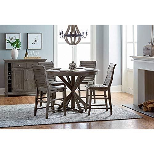 Progressive Furniture D801-15B/15T Willow Round Counter Table, Distressed Dark Gray