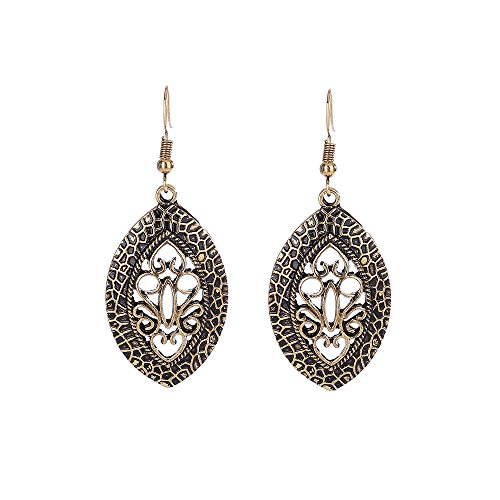Lureme Ethnic Jewelry Antique French Hook Hollow Out Design Oval Pendant Dangle Earrings(02004292-p)