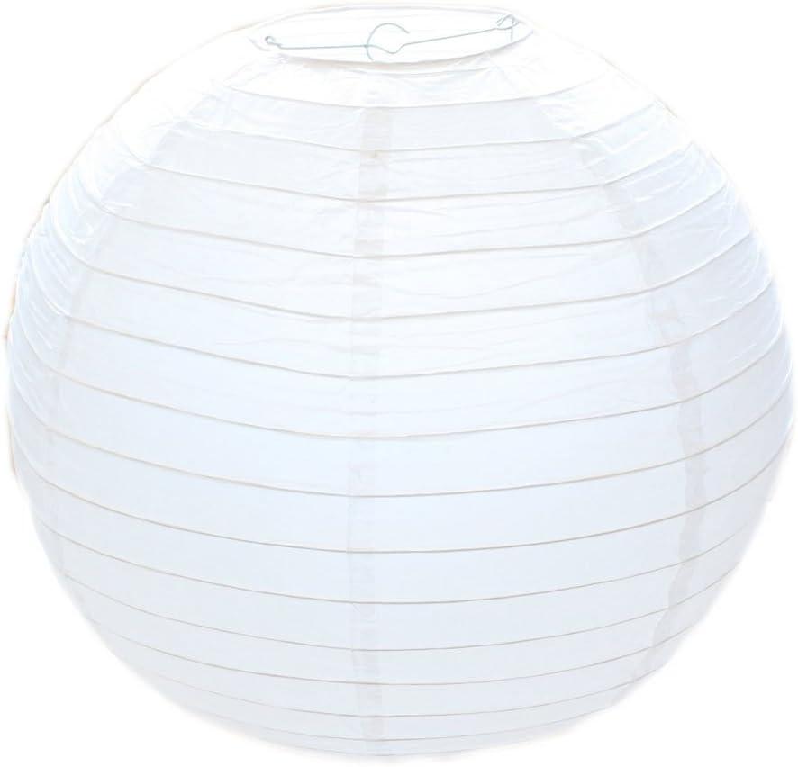 Huahan Haituo White Round Paper Lampshade Classic Bamboo Style acanalado pantalla White Round Paper Lampshade Classic Bamboo Style acanalado pantalla (30cm/12