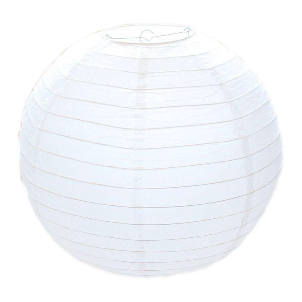 Lampenschirm rund weiß Papier Classic Bamboo Style Gerippter Lampenschirm, 30cm / 12 Deko für Party, Garten und Hochzeit