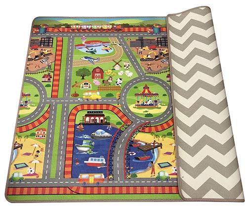 FUN n SAFE 7167 Baby Foam Play Mat – Reversible, Innovative Cushioning, Town Theme