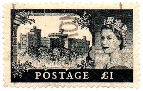 (UK (England, Great Britain) Postage Stamp Single 1955 Castle Issue Queen Elizabeth II 1 Pound Scott #312 )