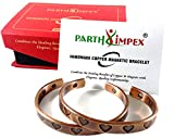 Copper Bracelets for Arthritis (Pack of 2) Heart Design Antique Finish Pure Copper 6 Magnets Men Women Distance Couples Natural Magnetic Therapy Elegant Bangle for Carpal Tunnel Joint Pain Relief