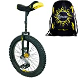 Qu-Ax Unicycles 24'' Muni Unicycle In Black For Young Adults + Flames N' Games Travel Bag!