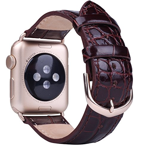 JSGJMY Apple Watch Band 38mm Leather Replacement Strap for iWatch Series 2 Series 1 Edition Sport(Dark brown+Golden Buckle)