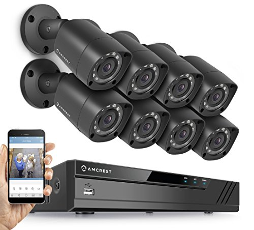 e 8CH Video Security Camera System w/ Eight 1280TVL (720P) IP67 Outdoor Cameras, 65ft Night Vision, HDD Not Included, Supports AHD, CVI, TVI, 960H & IP Cameras (AMDVTENL8-8B-B) ()