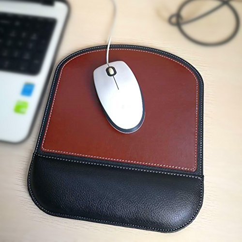 Fosinz Ergonomic Leather Mouse Pad Mat Mousepad with Rest Wrist Support Non-slip Rubber Base Memory Foam Waterproof Surface for Gaming Office (Square-Brown)