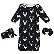 Baby Boys Girls Reindeer Sleeper Gown Hat No Scratch Mittens 3Pcs Outfit Clothes size 0-12 Months/S (Black)