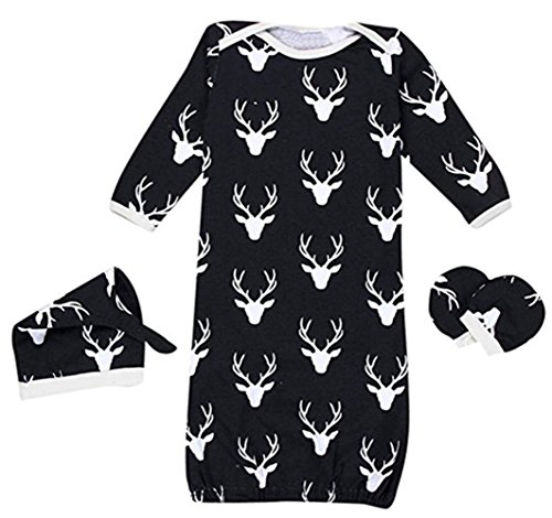 Baby Boys Girls Reindeer Sleeper Gown Hat No Scratch Mittens 3Pcs Outfit Clothes size 12-24 Months/M (Black)