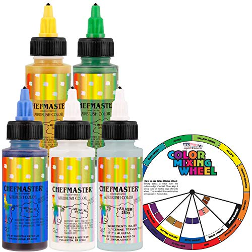 Chefmaster by US Cake Supply 2.3-Ounce Metallic Airbrush Cake Food Colors 5 Bottle Kit with Color Mixing Wheel - Safely Made in the USA product