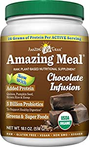 Amazing Grass Amazing Meal, Organic Chocolate Infusion Powder, Gluten Free, 15 Servings, 18.1-Ounce Container