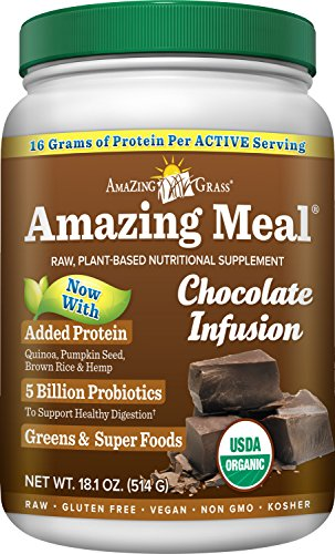 Price comparison product image Amazing Grass Amazing Meal, Organic Chocolate Infusion Powder, Gluten Free, 15 Servings, 18.1-Ounce Container