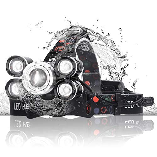 Headlamp, QGOO Rechargeable Ultra Bright LED Work Head lamps, 2000 lumens Brightest Headlight, Waterproof and Zoomable IPX-6 Flashlight, Best for Camping/Outdoor/hat light