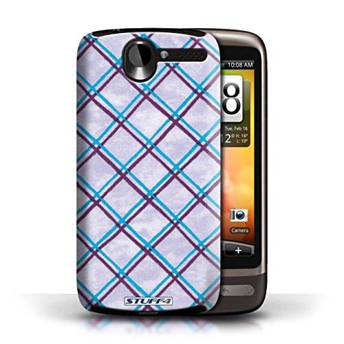Etui / Coque pour HTC Desire G7 / Bleu/Violet conception / Collection de Motif Entrecroisé
