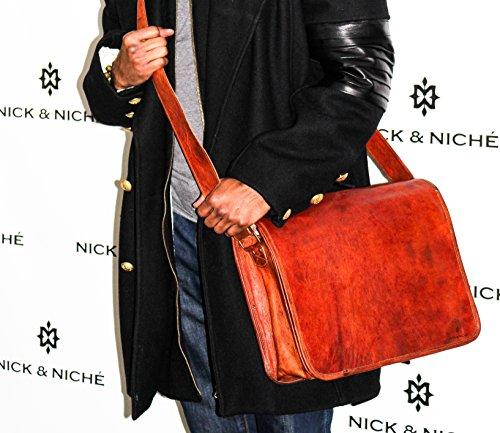Lined Vintage Clutch (NICK & NICHÉ Vintage Handmade Genuine Leather Travel Laptop Messenger Bag with Size 15L 11H)