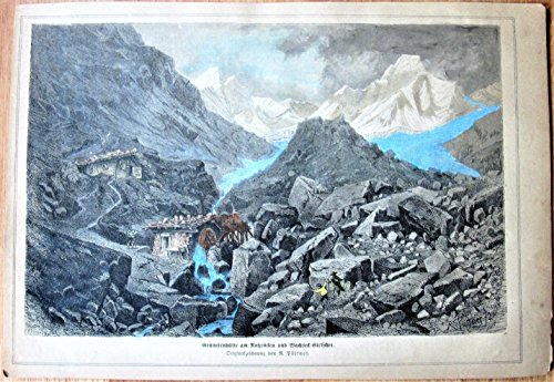 Antique Steel Engraving: Mountain Scene and Water Mill