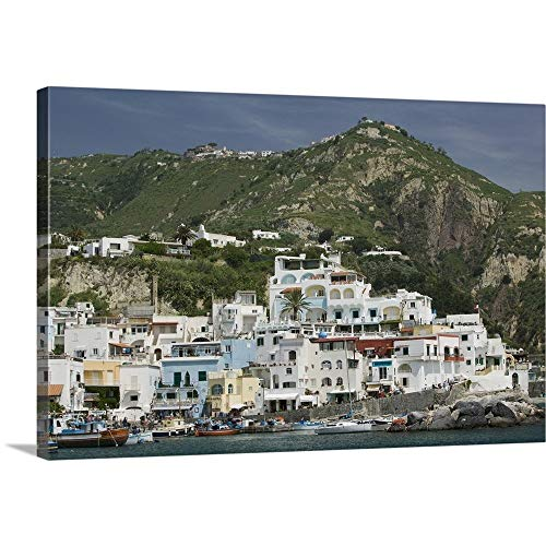 """GREATBIGCANVAS Gallery-Wrapped Canvas Entitled Boats docked at a Port, Sant Angelo Beach, Ischia, Naples, Campania, Italy by 60""""x40"""""""