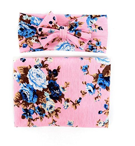 Hcside Newborn Infant Floral Swaddle Wrap Baby Swaddling Sleeping Bag Blanket Headband -