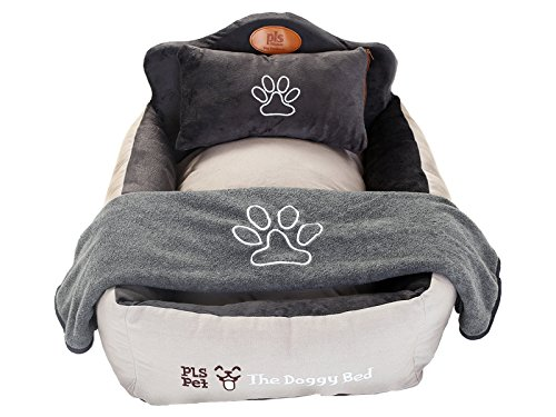 PLS Birdsong The Doggy Bed with Blanket, Medium, Gray, Bolster Dog Bed for Medium Dogs, Completely Washable