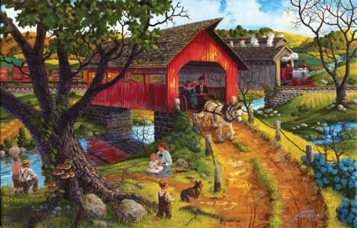 Double Cross 1000 pc Jigsaw Puzzle, Two Crossings Jigsaw Puzzle, Covered Bridge Crossing Jigsaw Puzzle,