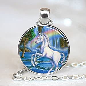 Unicorn with Rainbow Fantasy Glass Tile Necklace Pendant (PD0068S)