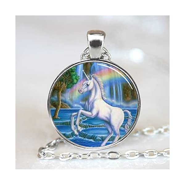 Unicorn with Rainbow Fantasy Glass Tile Necklace Pendant (PD0068S) 2