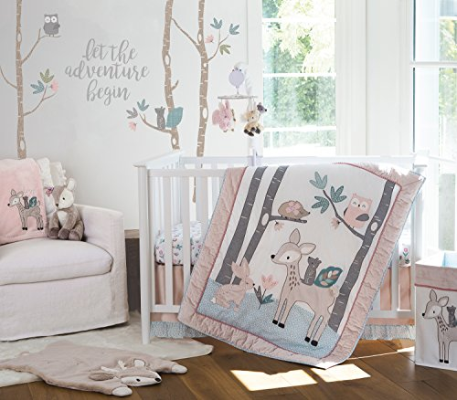 (Levtex Baby Everly 5 Piece Bedding Set, Quilt, 100% Cotton Crib Fitted Sheet, Dust Ruffle, Diaper Stacker and Large Wall Decals)