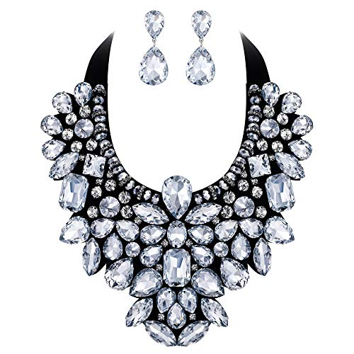 Flyonce 8 Colors Women's Stunning Crystal Costume Statement Necklace Earrings Set for Banquet, Prom Clear