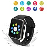Bluetooth Smart Watch - Wzpiss Smartwatch Touch Screen Wrist Watch Camera/SIM Card Slot Compatible iOS iPhones Android Samsung Kids Women Men (Black)