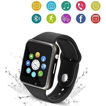 b71059157 Bluetooth Smart Watch - Wzpiss Smartwatch Touch Screen Wrist Watch  Camera SIM Card Slot Compatible iOS iPhones Android Samsung Kids Women Men ( Black)
