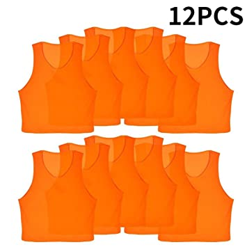 VGEBY 12pcs Petos de Entrenamiento Petos de Fútbol para Niños (Color    Naranja) 171d3386760