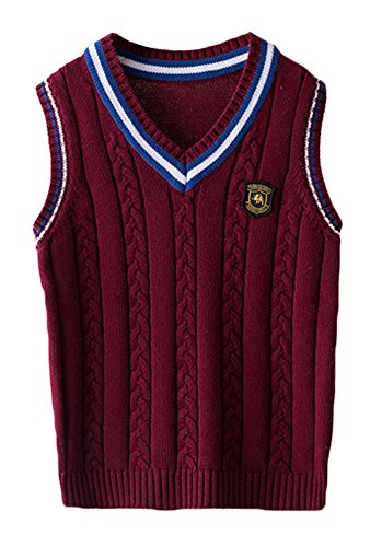 ezShe Boys V Neck Sleeveless Pullover Cable Kinted School Sweaters, WineRed  ,4-5 Years