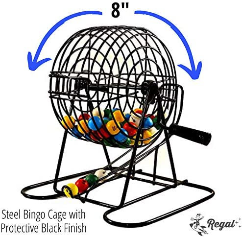 Regal Games Deluxe Bingo Cage Game Set Metal Cage with Plastic Masterboard 75