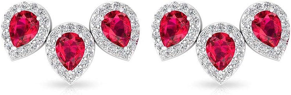 Pendientes de escalada con cristales de rubí, certificado IGI, con diamantes de halo IJ-SI, claridad de color, pendientes de piedras preciosas para novia, regalo de San Valentín, tornillo hacia atrás