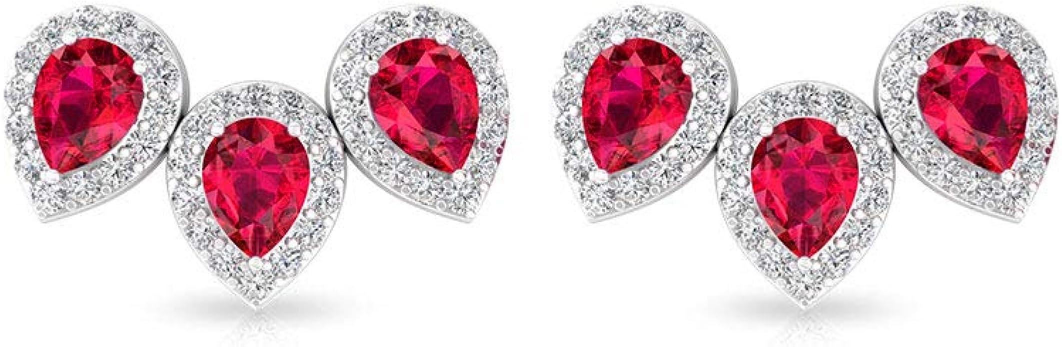 Pendientes de escalada con cristales de rubí, certificado IGI ...