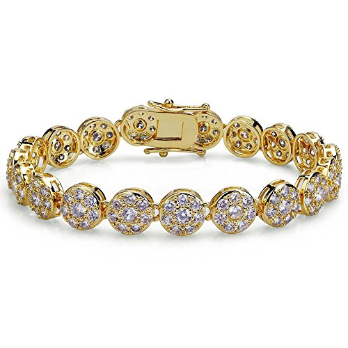 - TOPGRILLZ Hip Hop 15K Iced Out CZ Zircon Solitaire Cluster Lab Diamond Tennis Link Bracelet (Gold 7