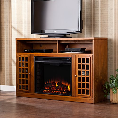 "SEI Furniture Southern Enterprises Narita Media Electric Fireplace 48"" Wide, Glazed Pine Finish"