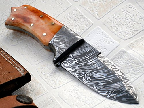 BC-219-40- Custom Handmade Damascus Steel Knife - Colored Bone Handle