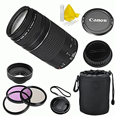 Canon EF 75-300mm f/4-5.6 III Celltime Premium Zoom Lens Kit for Canon EOS 7D, 60D, EOS Rebel SL1, T1i, T2i, T3, T3i, T4i, T5i, XS, XSi, XT, XTi Digital SLR Cameras by Celltime Inc