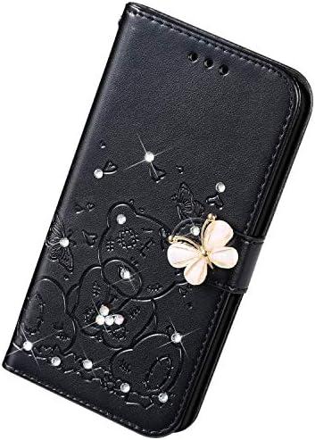 Uposao Kompatibel mit Samsung Galaxy S8 Plus Hülle Leder Handyhülle Diamant Bling Strass Glitzer Blumen Cartoon Bär Muster Leder Tasche Wallet Flip Cover Case Klapphülle Schutzhülle,Schwarz