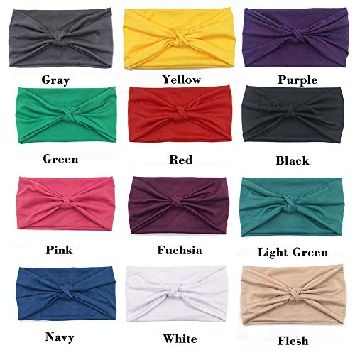 (ransiy 12 Pack Soild Headband Hair Wrap Elastic Knot Turban For Workout Sports Yoga and Running)