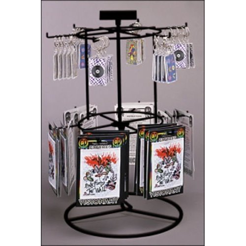 (New Black 12 Peg-2 Tier Counter Spinner for Key Chains, Small Hangings Display)