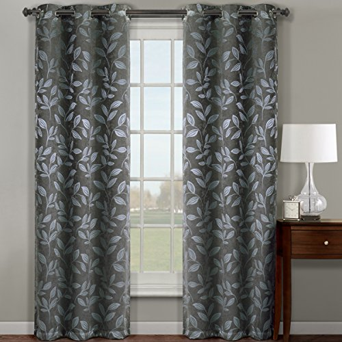 Pair of Two Top Grommet Claire Micro Suede Jacquard Blackout Weave Thermal Insulated Curtain Panels, Triple-Pass Yarn Back Layer, Elegant and Contemporary Claire Blackout Panels, Set of Two Grey 36″ by 84″ Panels (72″ by 84″ Pair)