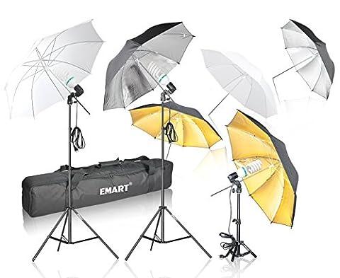 Emart Photography Umbrella Lighting Kit, 1575W 5500K Photo Video Studio Continuous Reflector Lights for Camera Portrait Shooting Daylight (Translucent/ White, Black & Silver, Black & - Reflector Kit