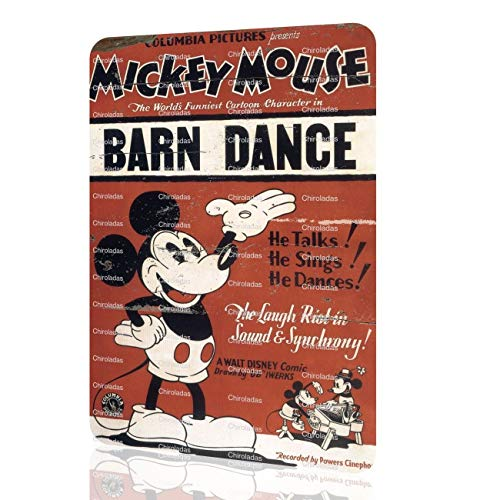 Metal Sign Mickey Mouse BARN Dance Classic Poster Home Decor Bed Wall Art Rusted -