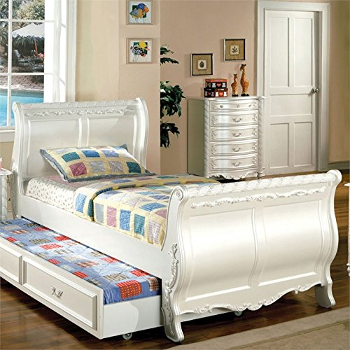Furniture of America Rollison Full Sleigh Bed in Pearl White