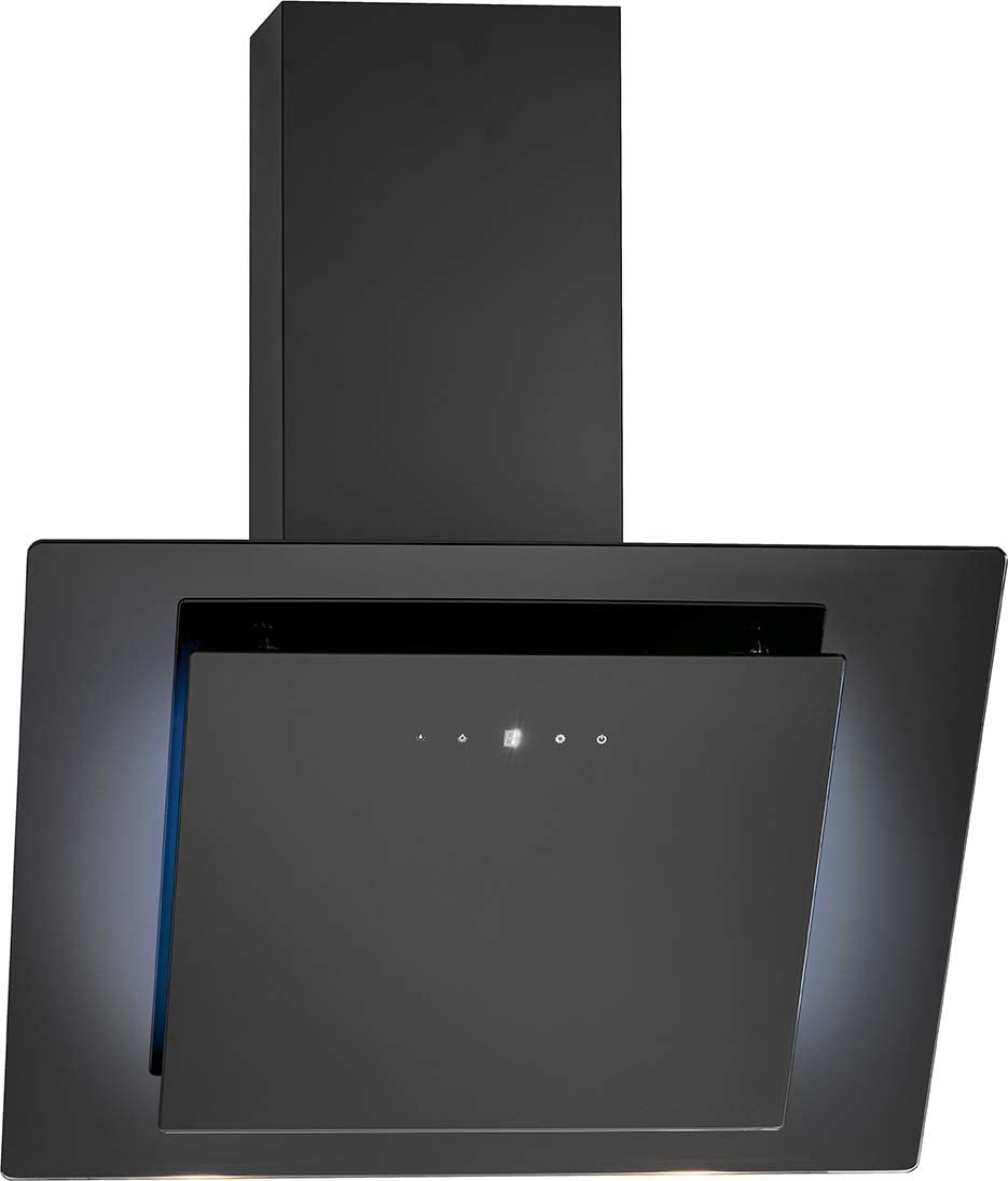 Bomann DU 7603 G - Campana vertical sin cabezal, 60 cm, iluminación LED, control táctil, funcionamiento de recirculación de aire o canalizado 607 m3/H/negro