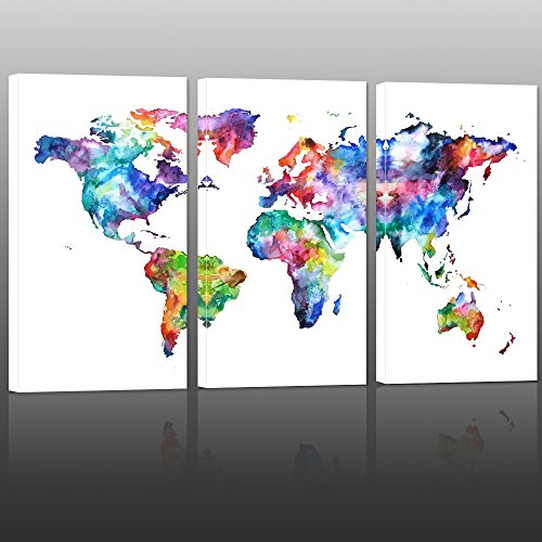 World Map Canvas Art,Vintage map Poster Printed on Canvas with Frame Ready to Hang,Canvas Art,Map of World Canvas Prints Wall Art,Map Poster Artwork - Map Posters Vintage